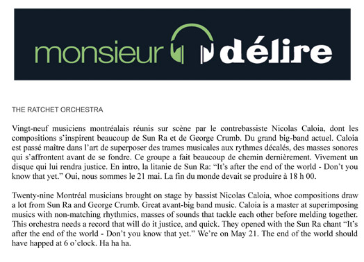 Ratchet Orchestra Press-Monsieur Delire